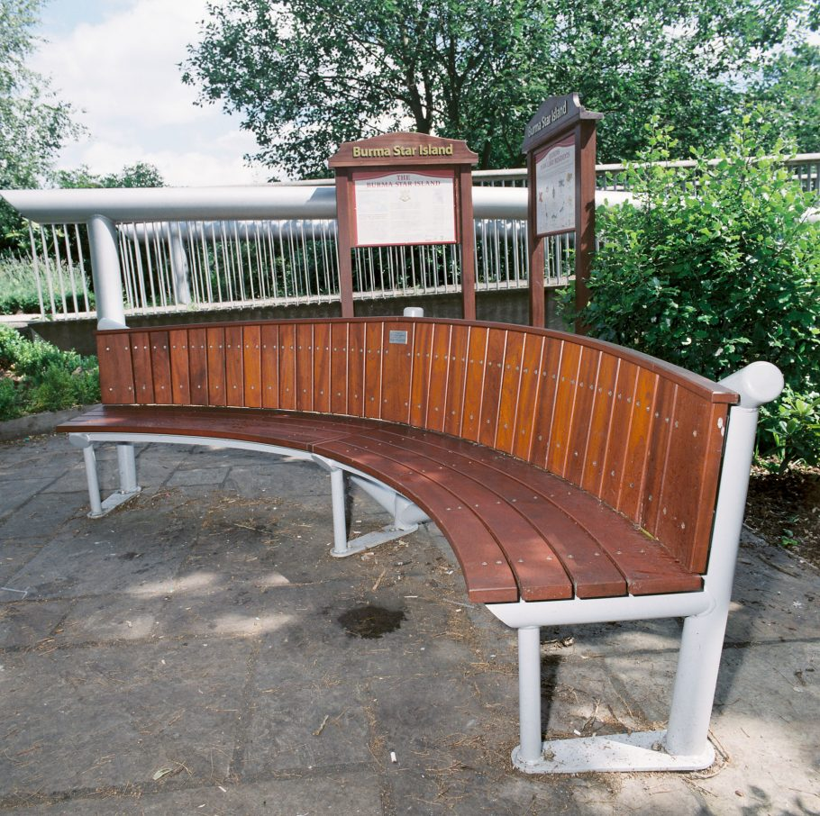 A Burma Star bench by Woodcraft UK