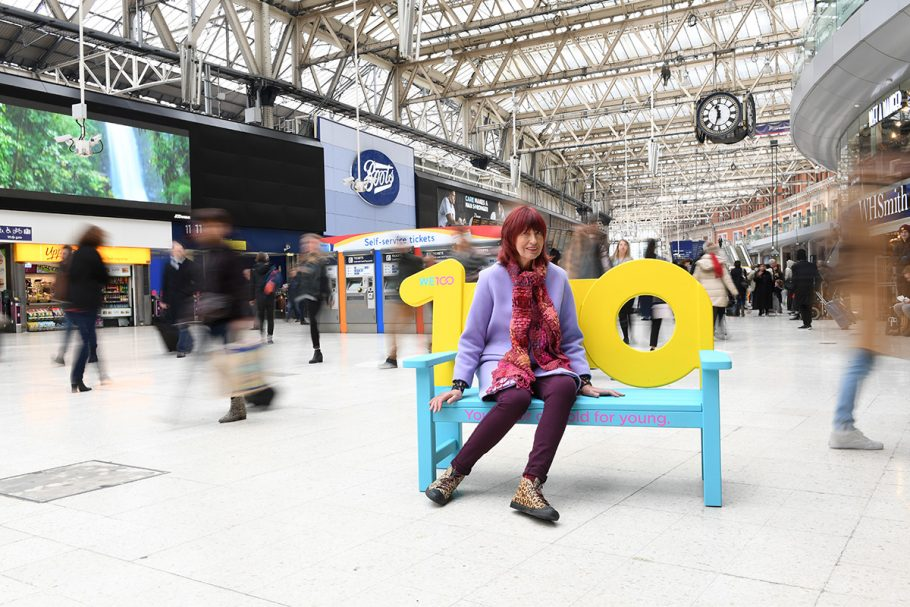 Janet Street Porter modelling the WE100 public bench