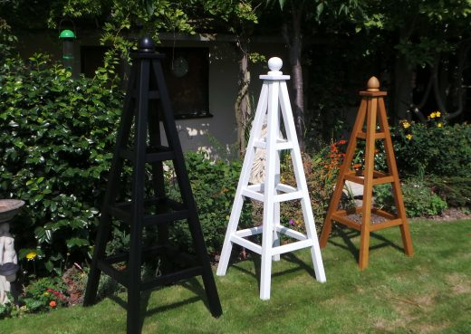 Wooden garden obelisks powder coated