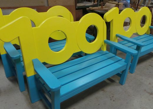 WE100 benches being powder coated