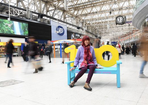 Janet Street Porter modelling one of our benches for the national WE100 campaign