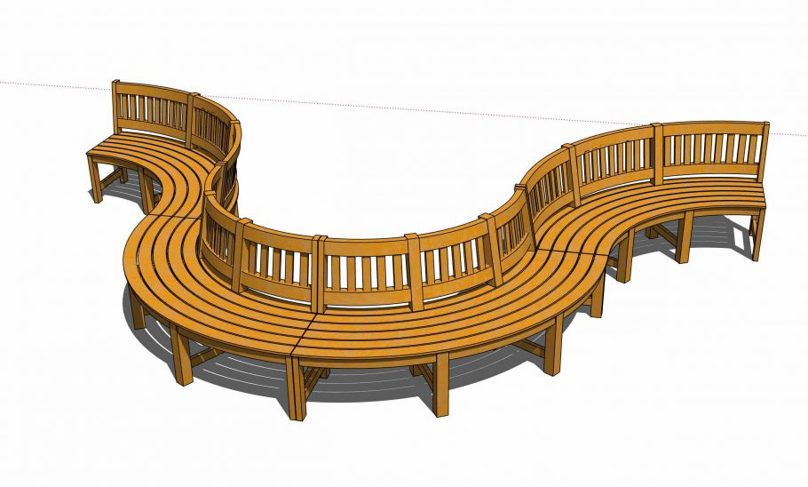 3D model of our curved wooden bench system