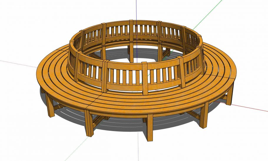 3D model of our curved tree seat