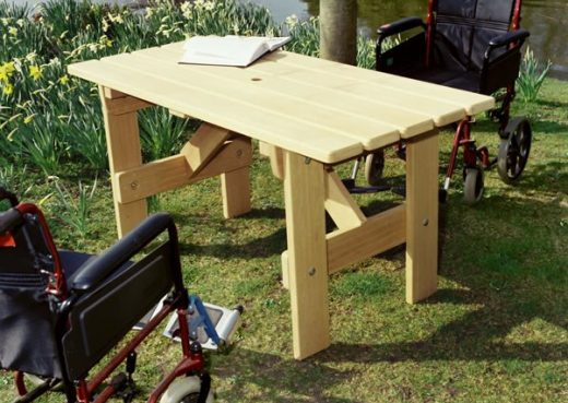 Adapted height garden table for wheelchairs