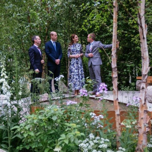 Alistair Bayford showing the Duke and Duchess Of Cambridge around the garden