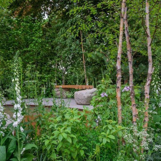 Great Picture of the Woodcraft bench in situ at RHS Chelsea Flower Show