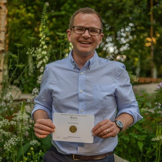 Alistair Bayford with Gold Medal from RHS Chelsea Flower Show