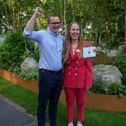 Alistair Bayford celebrates as he wins best Artisan Garden at RHS Chelsea Flower Shoe 2018