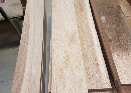 Raw hardwood cut into slats