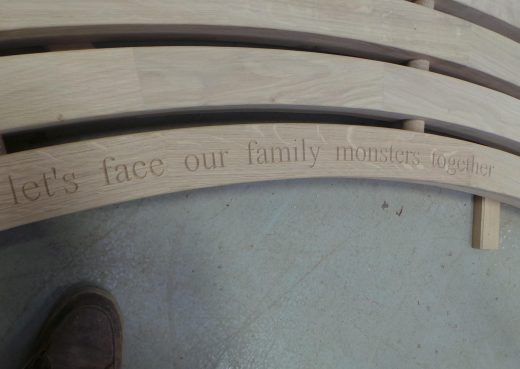 Curved bench top with engraving