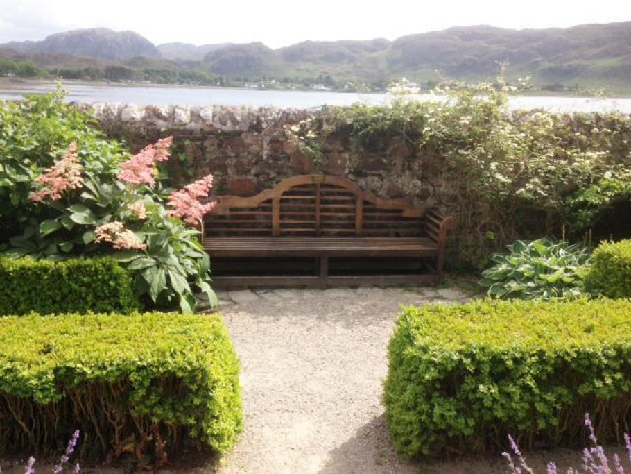Loch Ewe in the background, our Lutyens bench