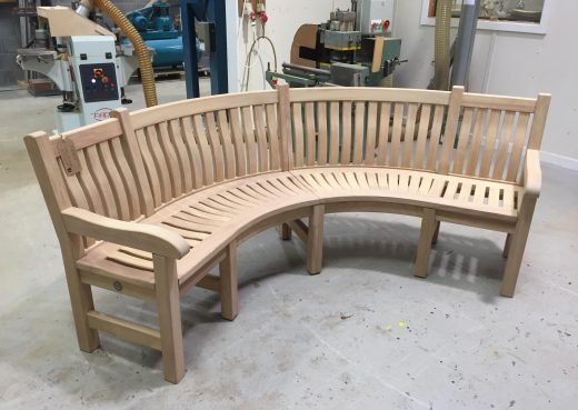 Curved bench for private customer in London
