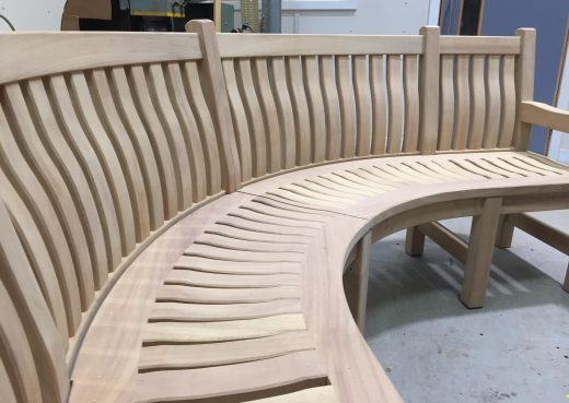 Close up of the curved Scarborough memorial bench