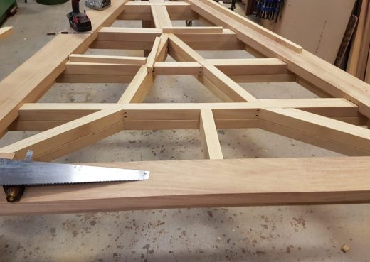 Detail of triangular table top frame