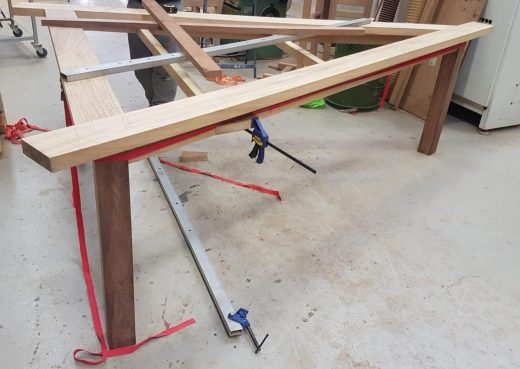 Triangular table frame in production