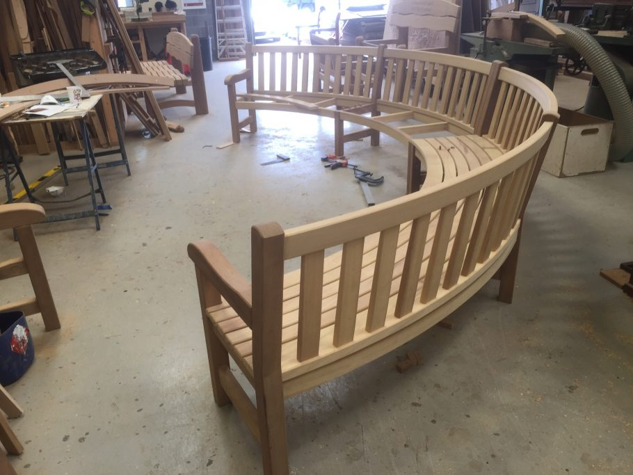 A bespoke curved bench under construction