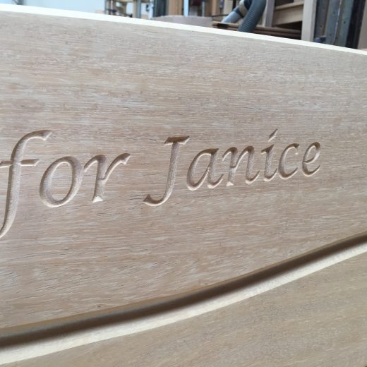 Engraved bench with inscription