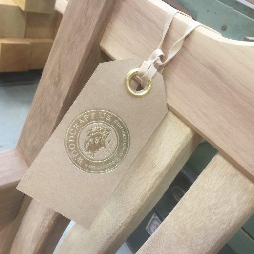 Craftsman tag with Gold embossed Woodcraft UK logo
