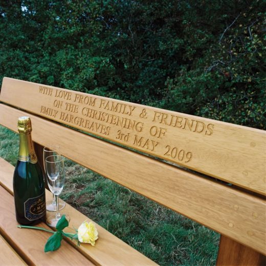 Engraved bench top rail