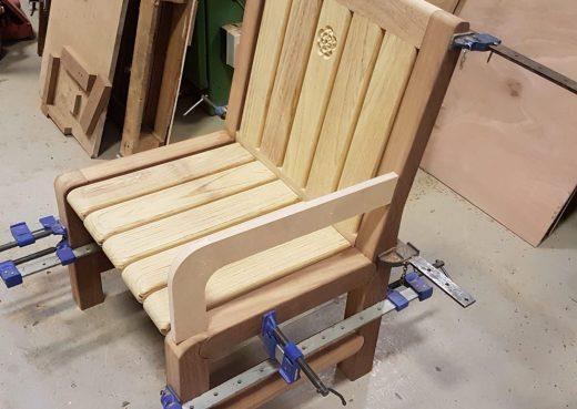 Prototype of a Woodcraft UK's designer range wooden outdoor chair