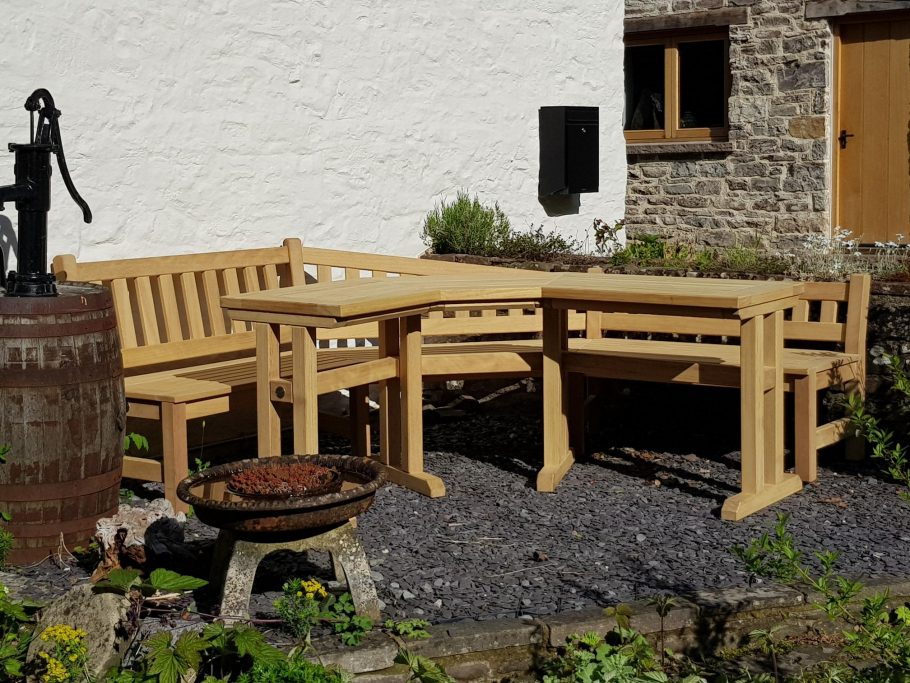 Bespoke corner angled bench and table
