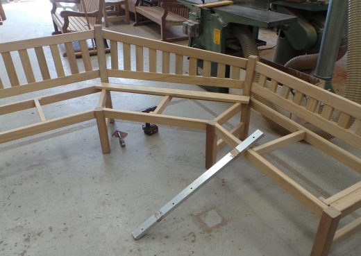 Piecing the garden bench frame together
