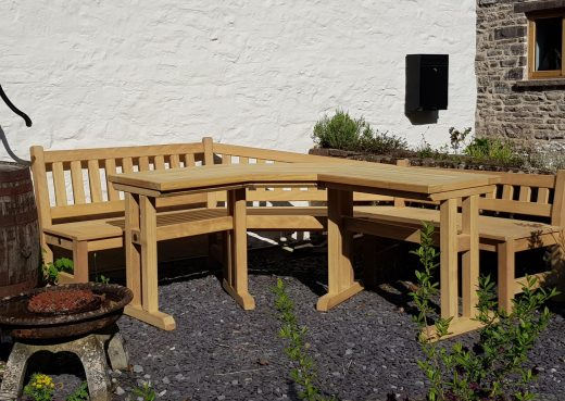 Garden bench and table in situ