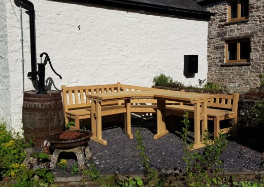Bespoke wooden garden bench and table