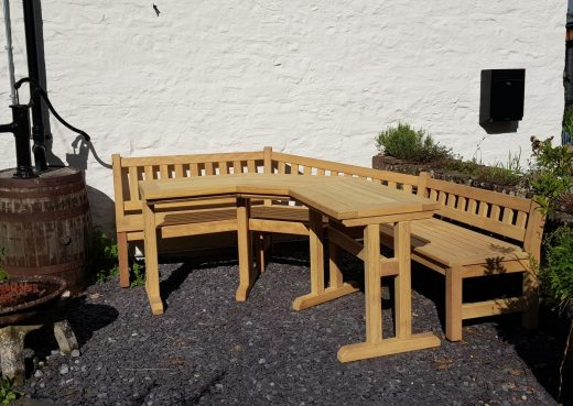 Garden bench and table in situ - side on view