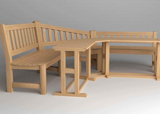 3D schematic of garden bench and table