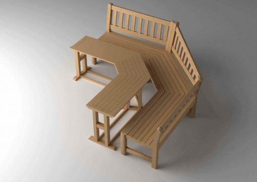 Top view of 3D schematic of garden bench and table