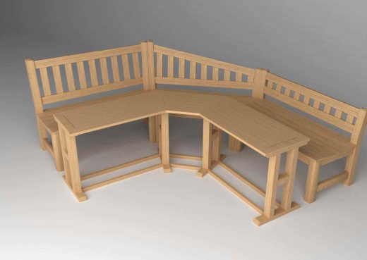 3D schematic of garden bench and table together