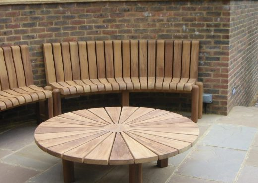 Bespoke wooden table in a tennis court