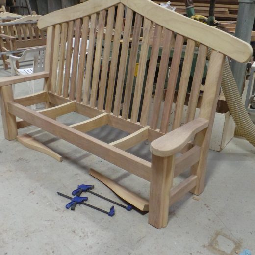 The Bute memorial bench in production
