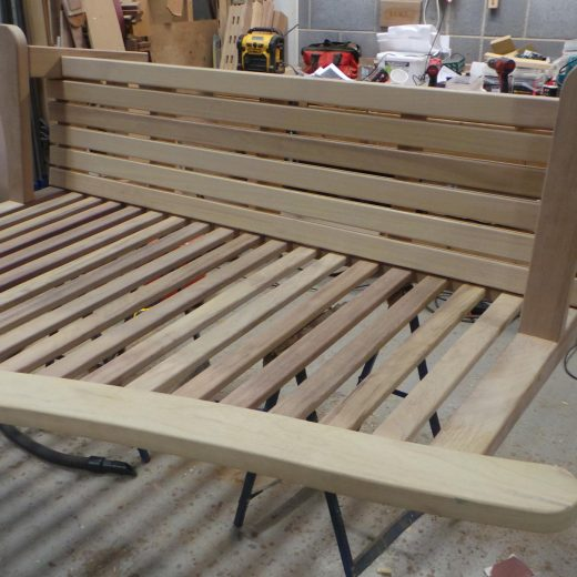 The Bute memorial bench glueing and clamping