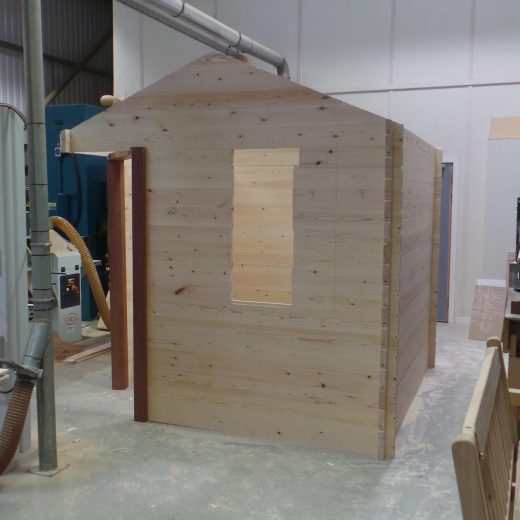 Walls completed for the wooden cabin
