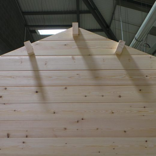 Side view of wooden cabin with roof joists in place