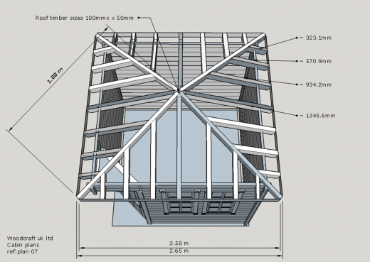 Birds eye view of wooden cabin showing roof joists