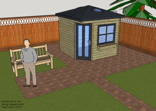 Drawing of Wooden Cabin in a finished state