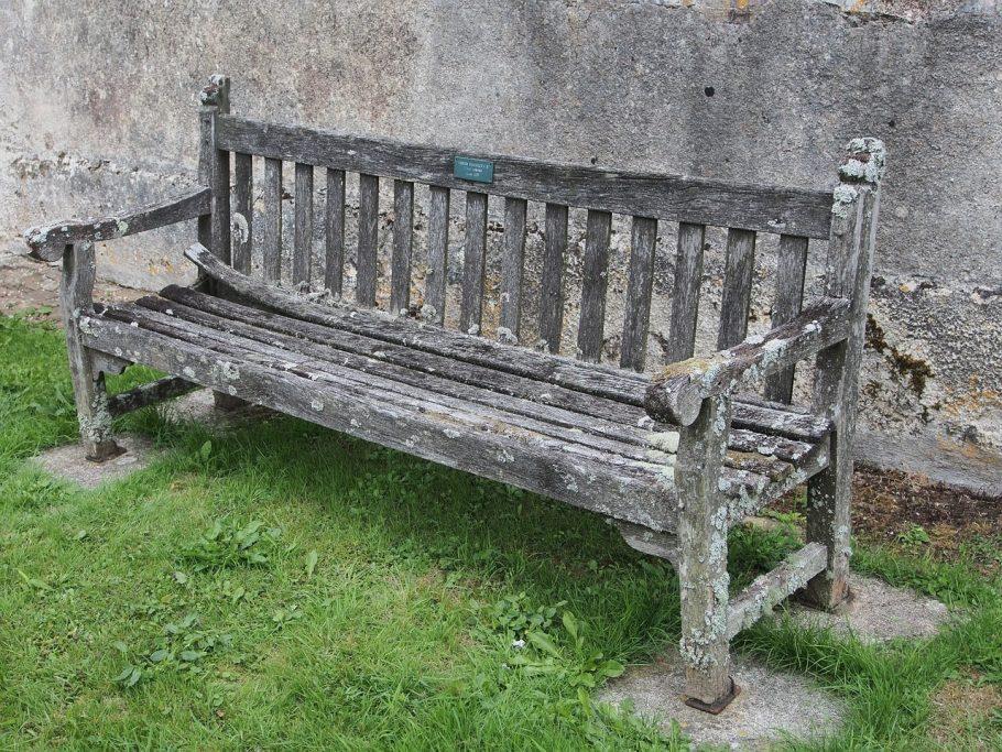 Very old wooden garden bench