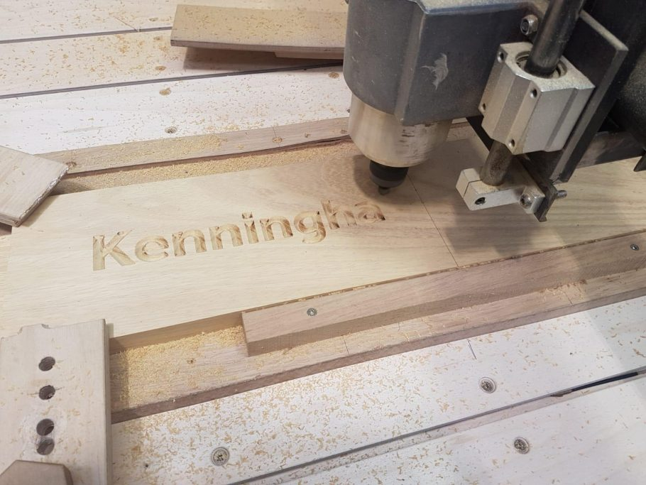 Engraving wooden panels with our CNC machine