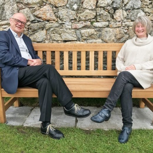 Our customer Nick Kenyon showing off his York bench at Criccieth castle in North Wales.