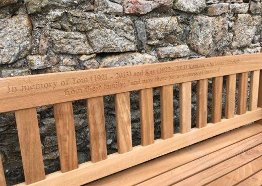 Memorial bench inscription - In memory of Tom and Kay Kenyon