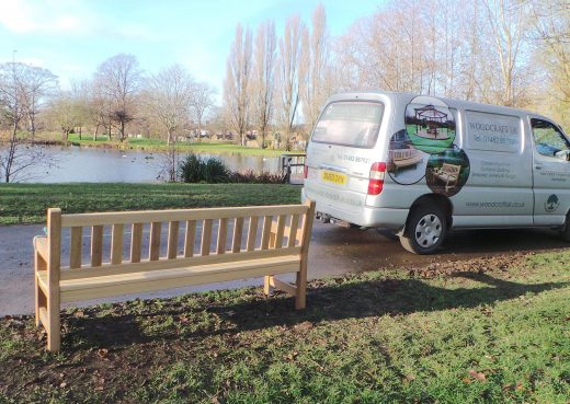 The York bench being installed in East Park Hull