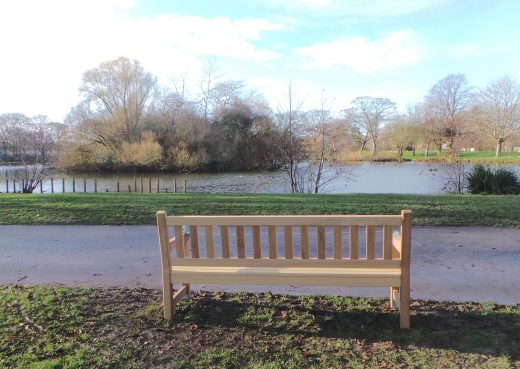 Overlooking the lake at East Park hull, the York Memorial Bench