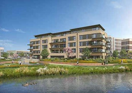 Artists Impression of one of the complexes at Green Park Village development in Reading where our York benches are heading to.