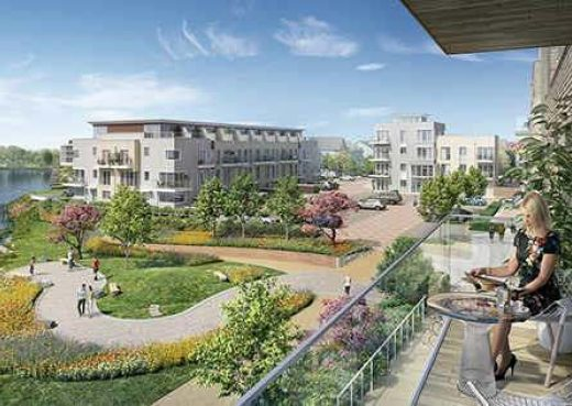 Architects drawing of Green Park Village development in Reading where our York benches are heading to.