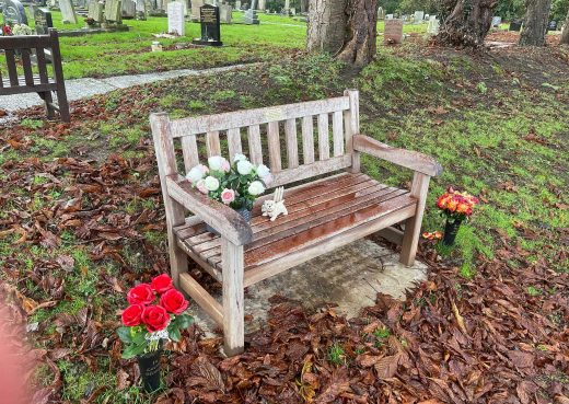A York Memorial bench turning a beautiful shade of silver