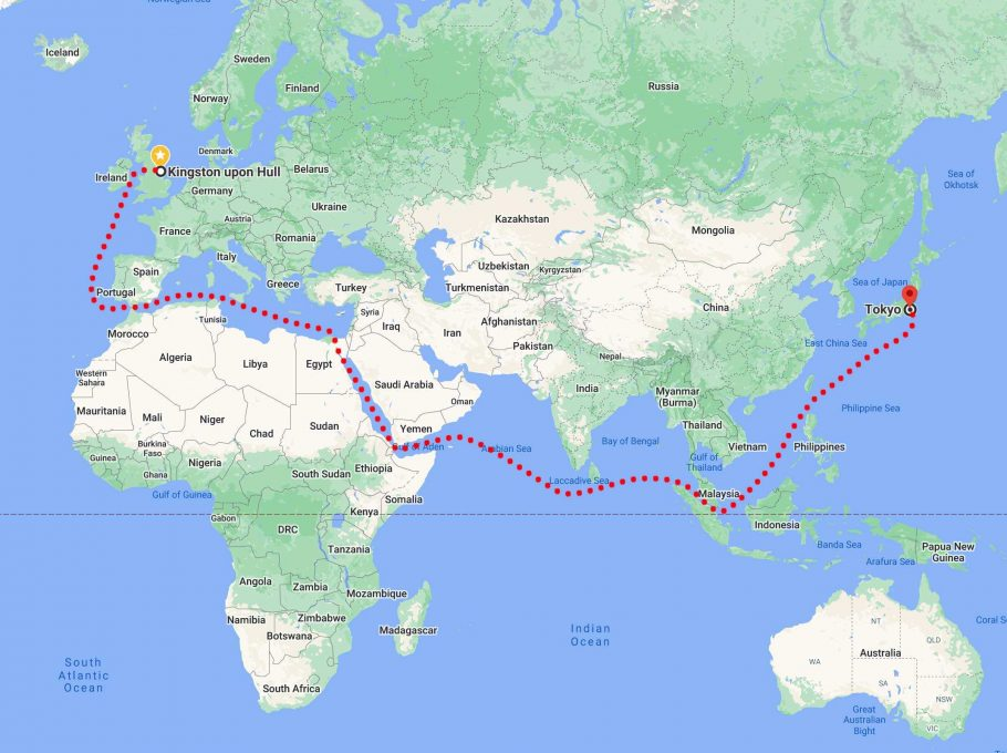 The route our memorial benches will take from UK to Japan