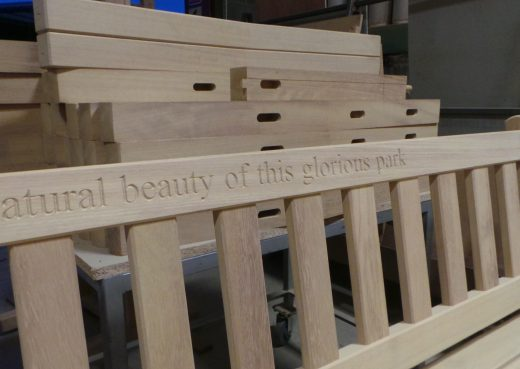 Close up of the inscription on the bench